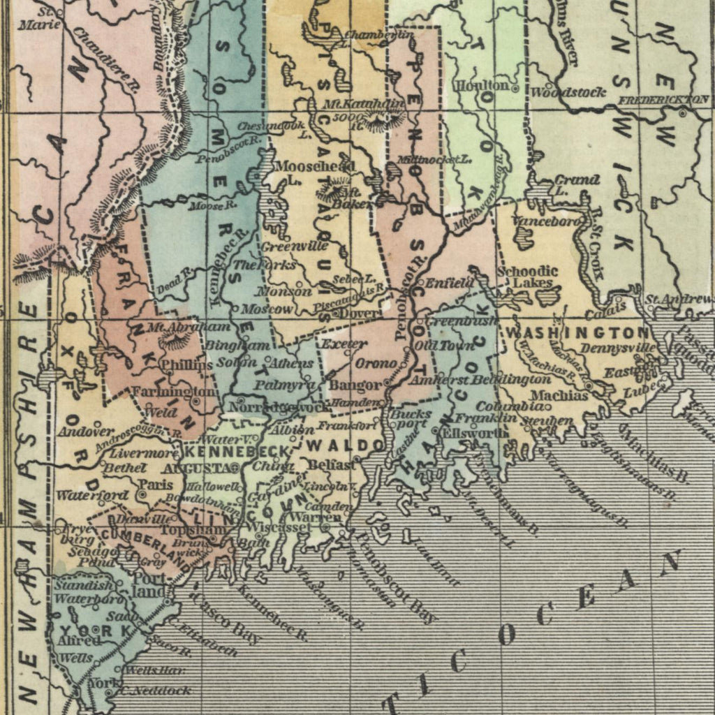 Maine state old map 1853 Phelps cerography hand color attractive