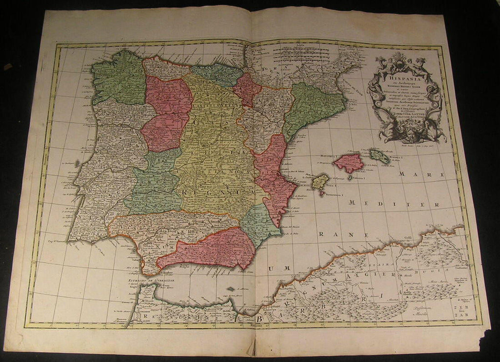 Spain Portugal Iberian Peninsula c. 1740 Lotter decorative antique old color map