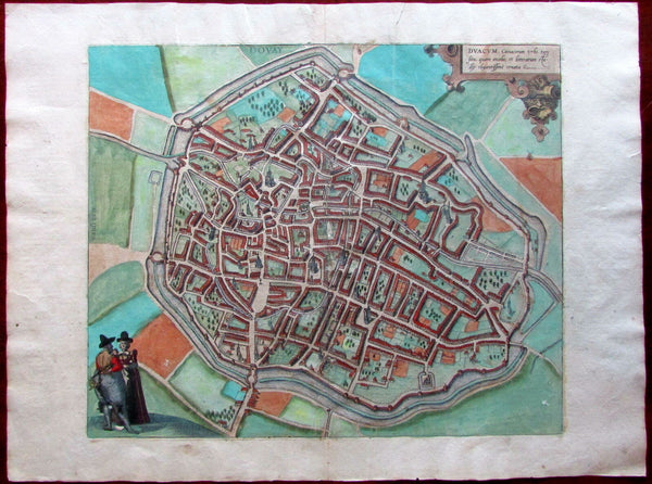 Douai Dovay France c.1580 Braun & Hogenberg city plan large map old hand color