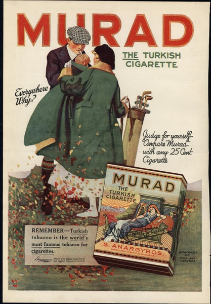 Mirad Cigarettes Golfers 1917 vintage WWI-era color Advertisement