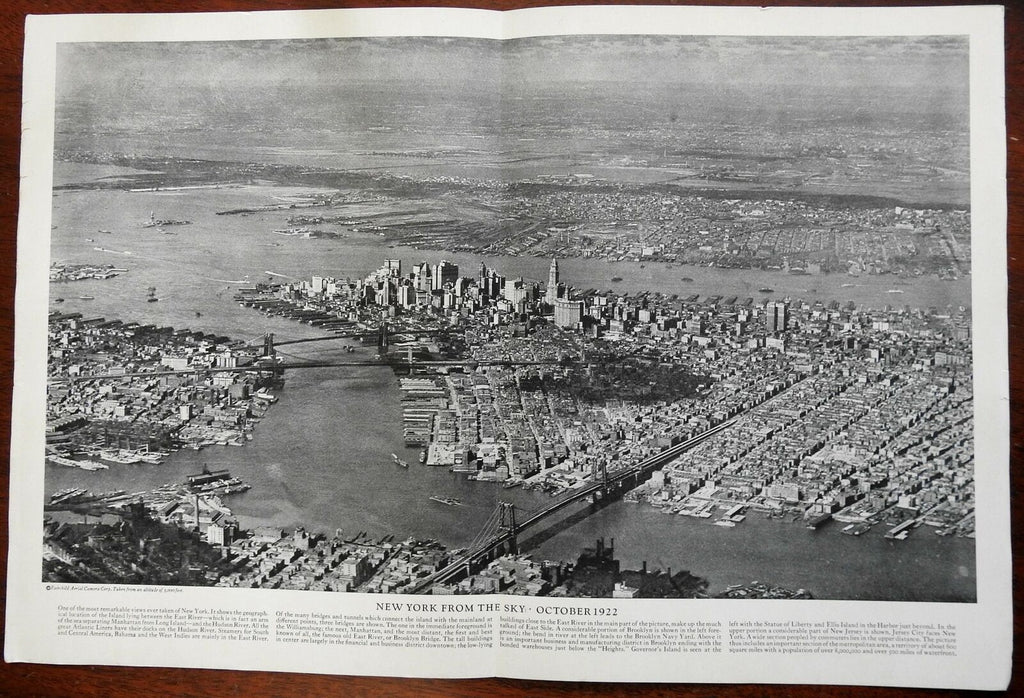 New York City 1922 Early Aerial View Brooklyn Bridge Statue of Liberty