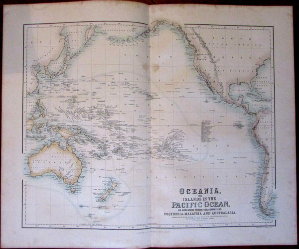 Oceania Australia hooked Lake Torrens c.1855 Fullarton large map Pacific islands