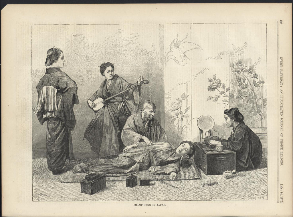 Shampooing Japan Man Washing Woman 1870 antique wood engraved print