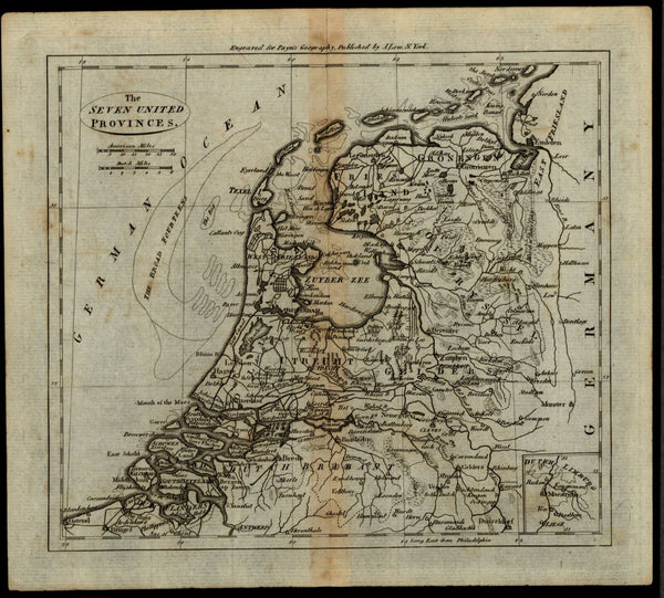 Seven United Provinces Holland Netherlands c.1800 American made early map