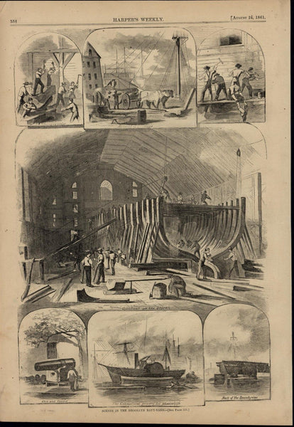 Brooklyn NY Navy Yard Building Gunboat Steamer 1861 great old print for display
