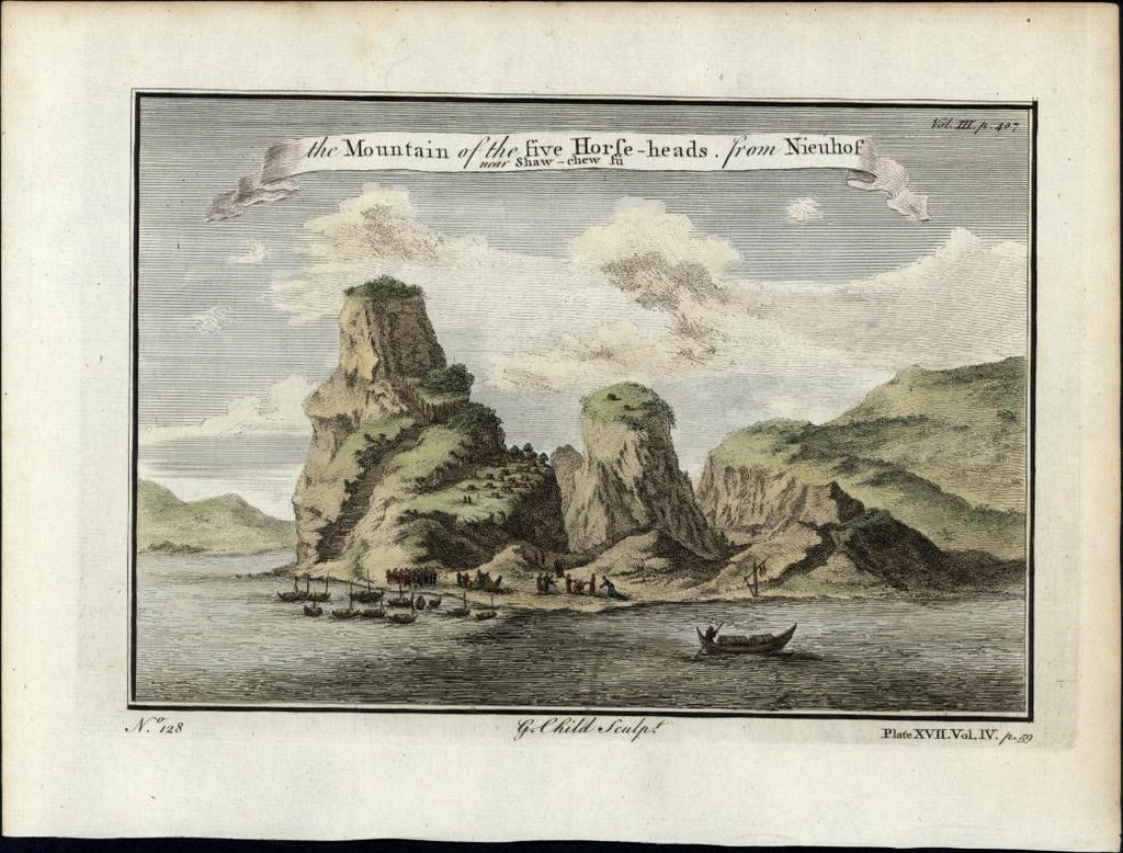 China Mountain Five Horse-heads Nieuhof 1747 view hand color