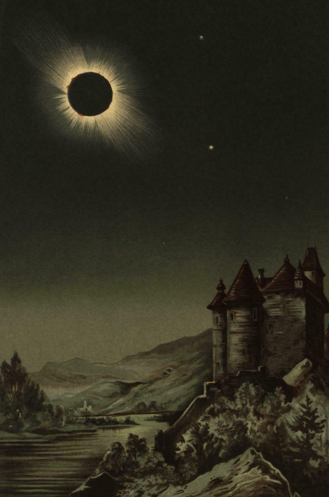 Total Solar Eclipse in sky 1888 Celestial print beautiful scarce Swedish color