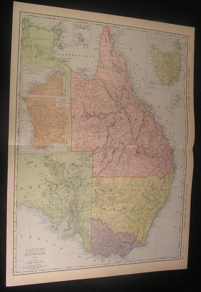 Eastern Australia 1912 very large detailed vintage antique color map