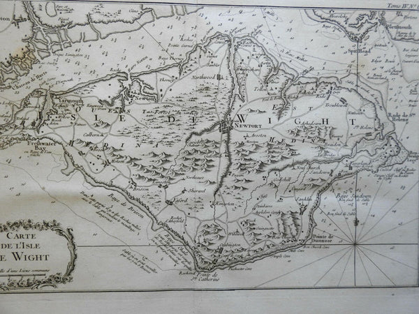 Isle of Wight by itself United Kingdom England 1760 Bellin detailed map