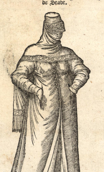 Muslim Woman of the city c.1570 Dutch de Nicolay early Turkish ethnic print