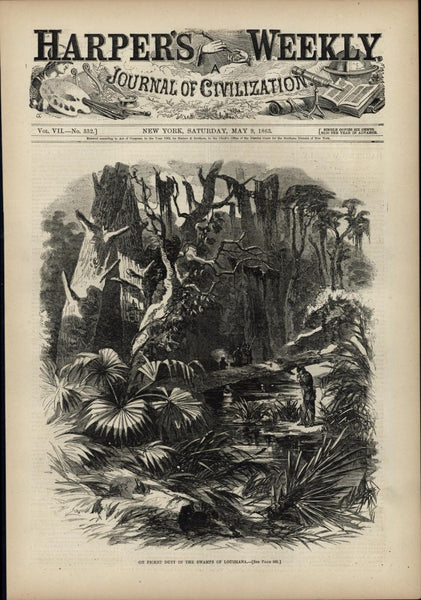 Picket Duty Swamps Louisiana 1863 antique Harpers Civil War print