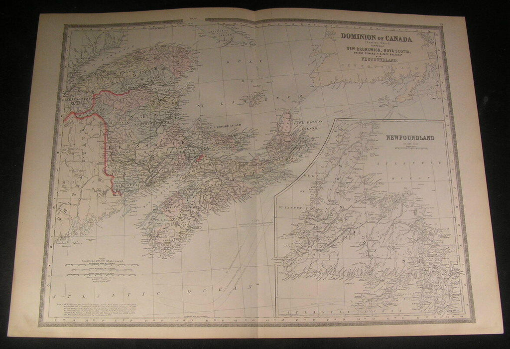 East Canada Nova Scotia Newfoundland 1880s antique engraved hand color map