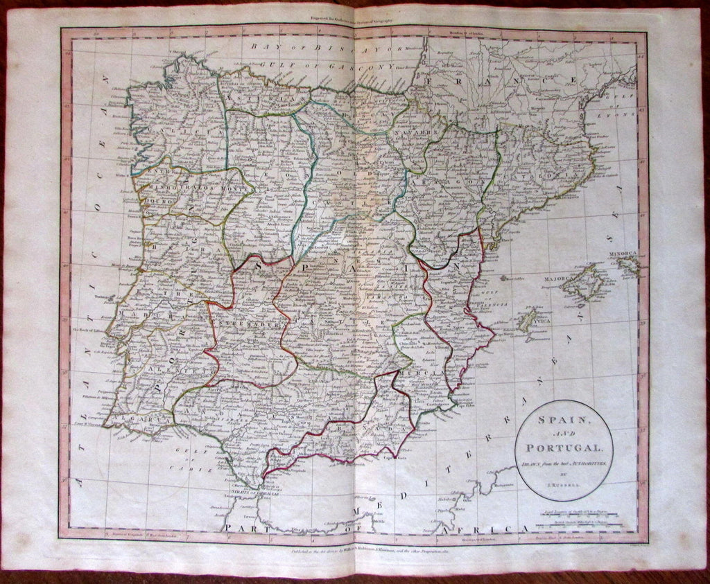 Spain Portugal c.1811 Russell large scarce engraved hand color old map