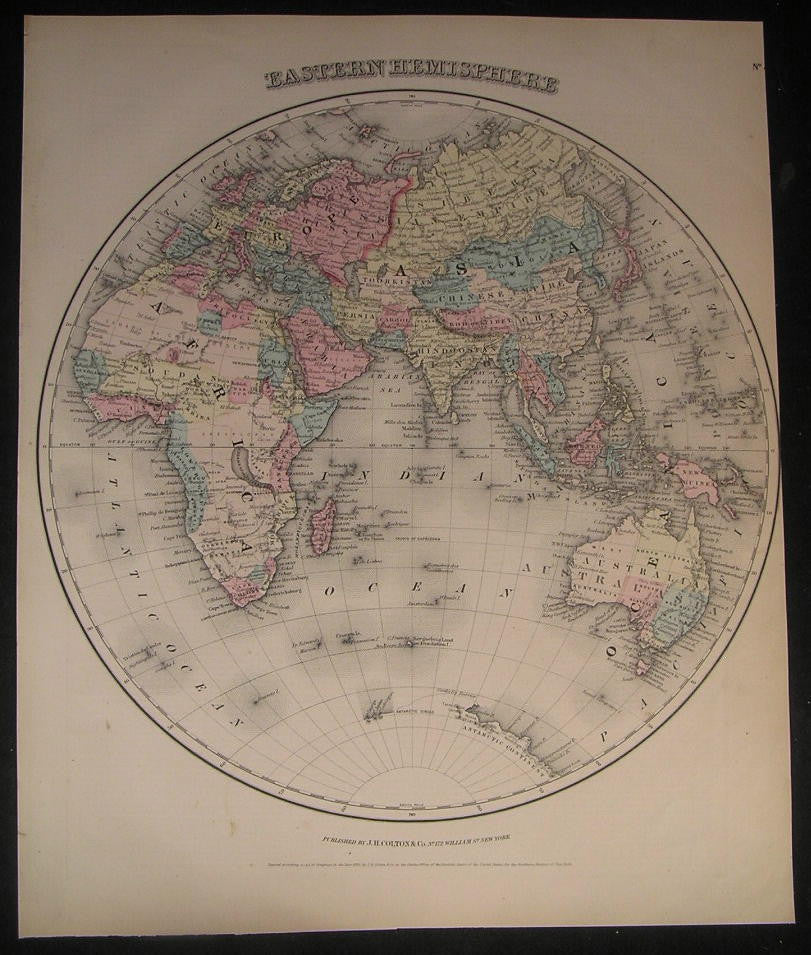 Eastern Hemisphere Korea Denmark Tibet 1856 fine large old hand color Colton map