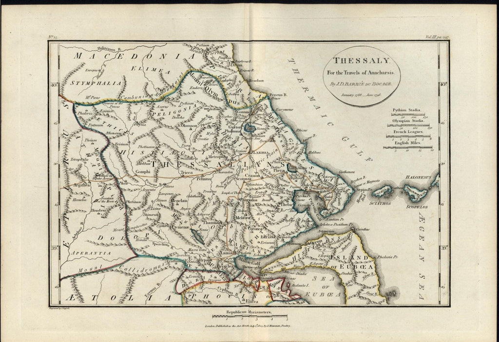 Thessaly Greece detailed Anacharsis 1805 fine old vintage antique map