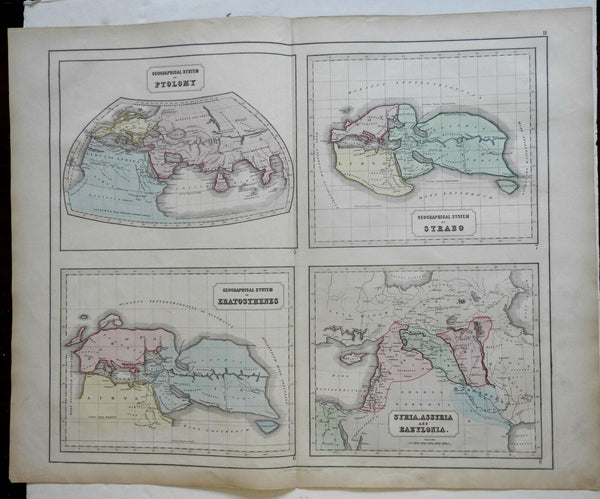 Geographers of the Ancient World Ptolemy Strabo 1855 Philip Historical map