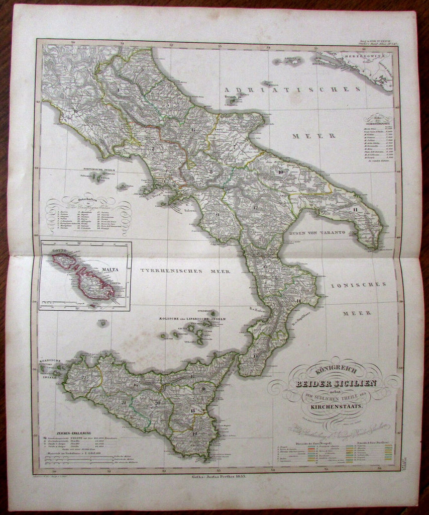 Sicily Italy Malta Gozzo Sicilia 1853 very detailed uncommon antique map Stieler