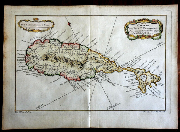 St. Kitt's Caribbean Island  West Indies 1760 Bellin map