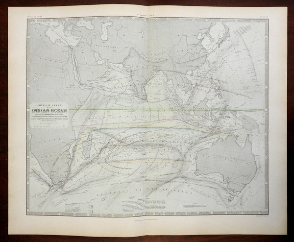Indian Ocean Southern Africa India Southeast Asia Currents 1856 information map