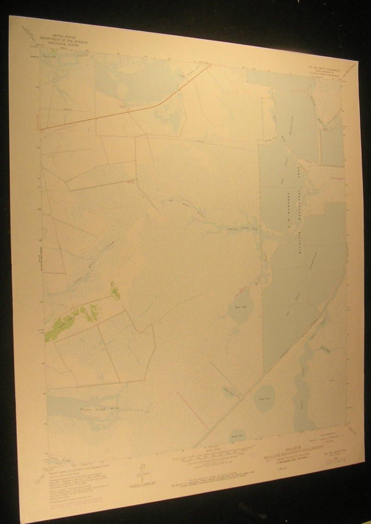 Big Hill Bayou Jefferson County Texas Gum Is. 1979 antique color lithograph map