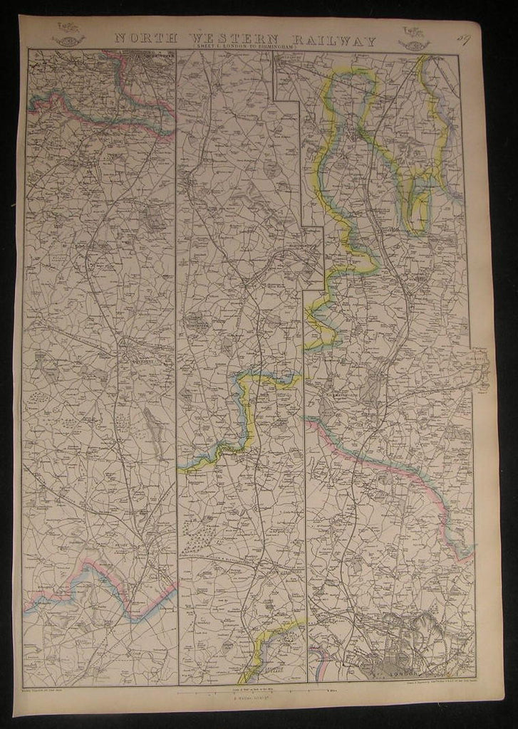 England North Western Railway London to Birmingham c.1863 vintage detailed map
