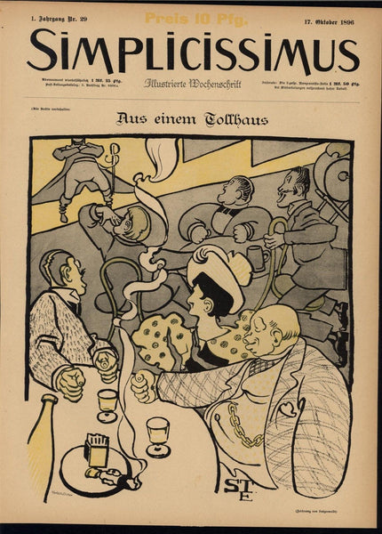 Raucous Crowd Wealthy Audience Dinner Theatre 1896 antique Art Nouveau print