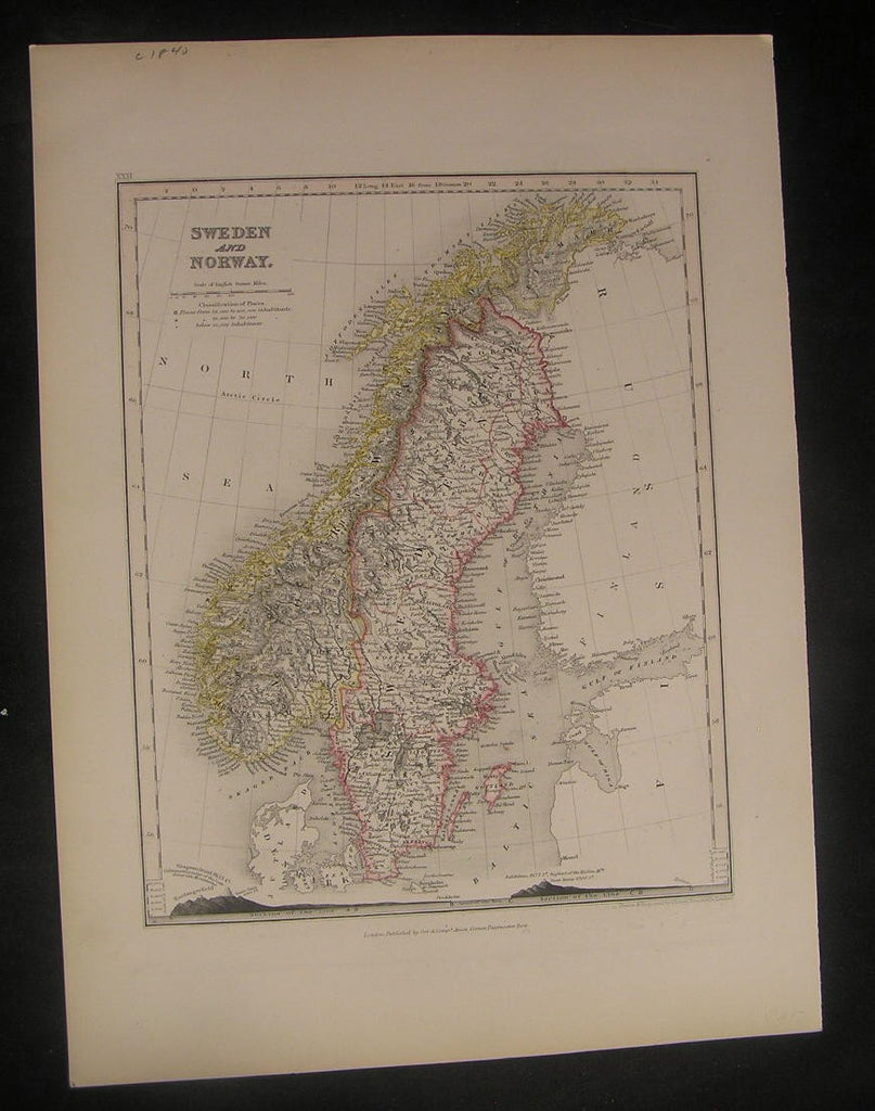 Sweden & Norway c.1850 Dower w/ Mt. Profiles fine old vintage antique map