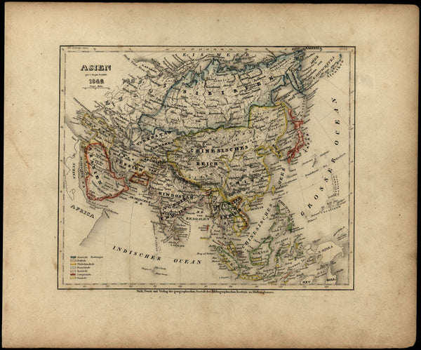 Asia Arabia India China Russia East Indies Persia 1849 Meyer German antique map