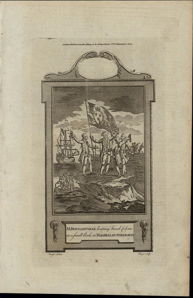 Planting French Flag Magellan Strait ca. 1780's fascinating old engraved print