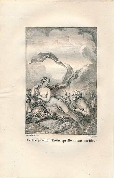 Nude Goddess Proteus predicts a son for Thetis Delightful 1808 Mythology print