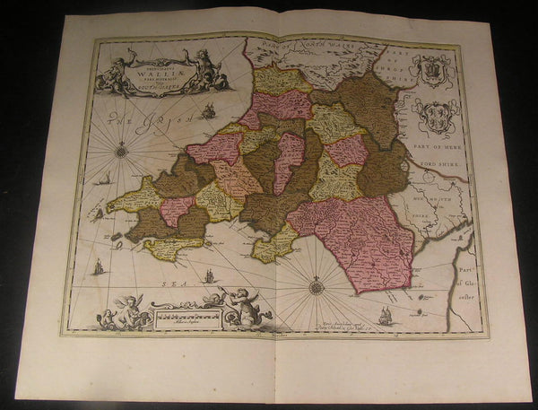 Southern Wales Swansea Bay Great Britain ca. 1700 Schenk & Valk fine color map