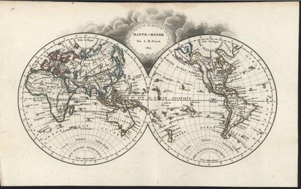 World in Spheres 1821 charming scarce antique engraved color map