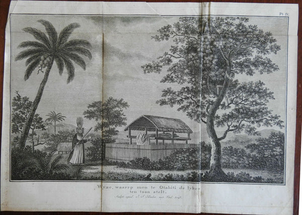 Tahiti Body on Display Native Priest Cadaver 1795 Captain Cook engraved print