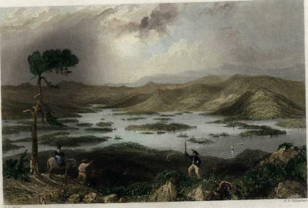 Squam Lake central New Hampshire c.1850 engraved view print lovely hand color