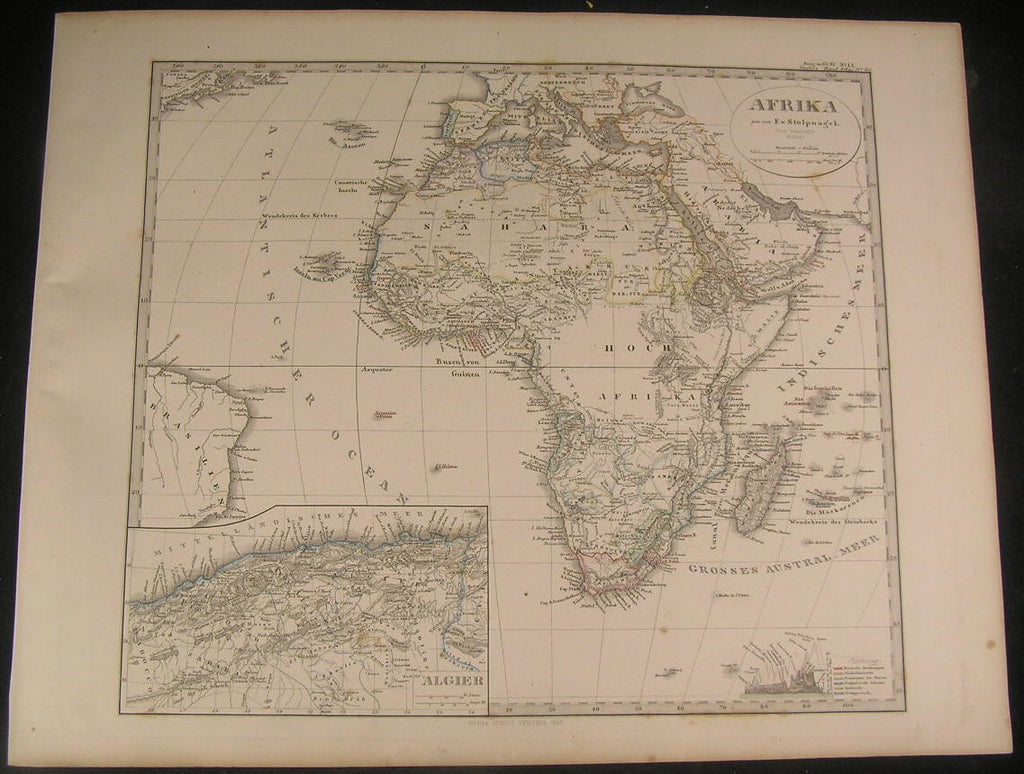 Africa continent 1867 antique engraved hand color map