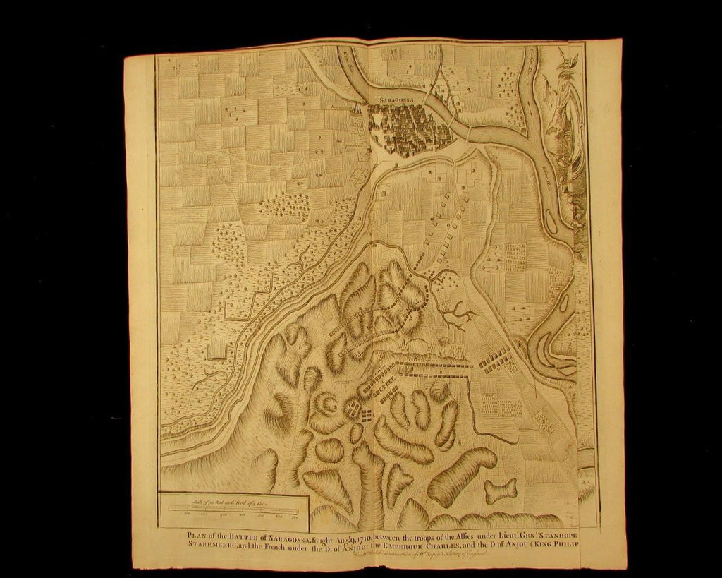 old Battle map 1710 Saragossa Spain Stanhope Staremberg 1740 Basire folio Rapin