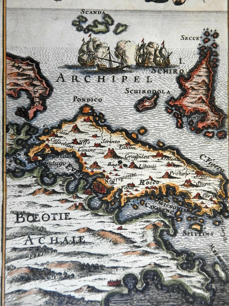 Euboea Greek Islands Ottoman Balkans Aegean Sea 1683 Mallet map