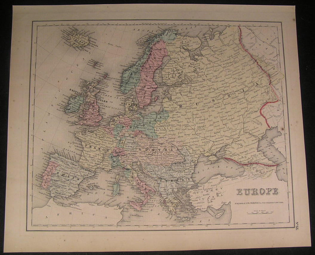 Europe Sardinia Crimea Sicily 1856 fine large old hand color Colton map