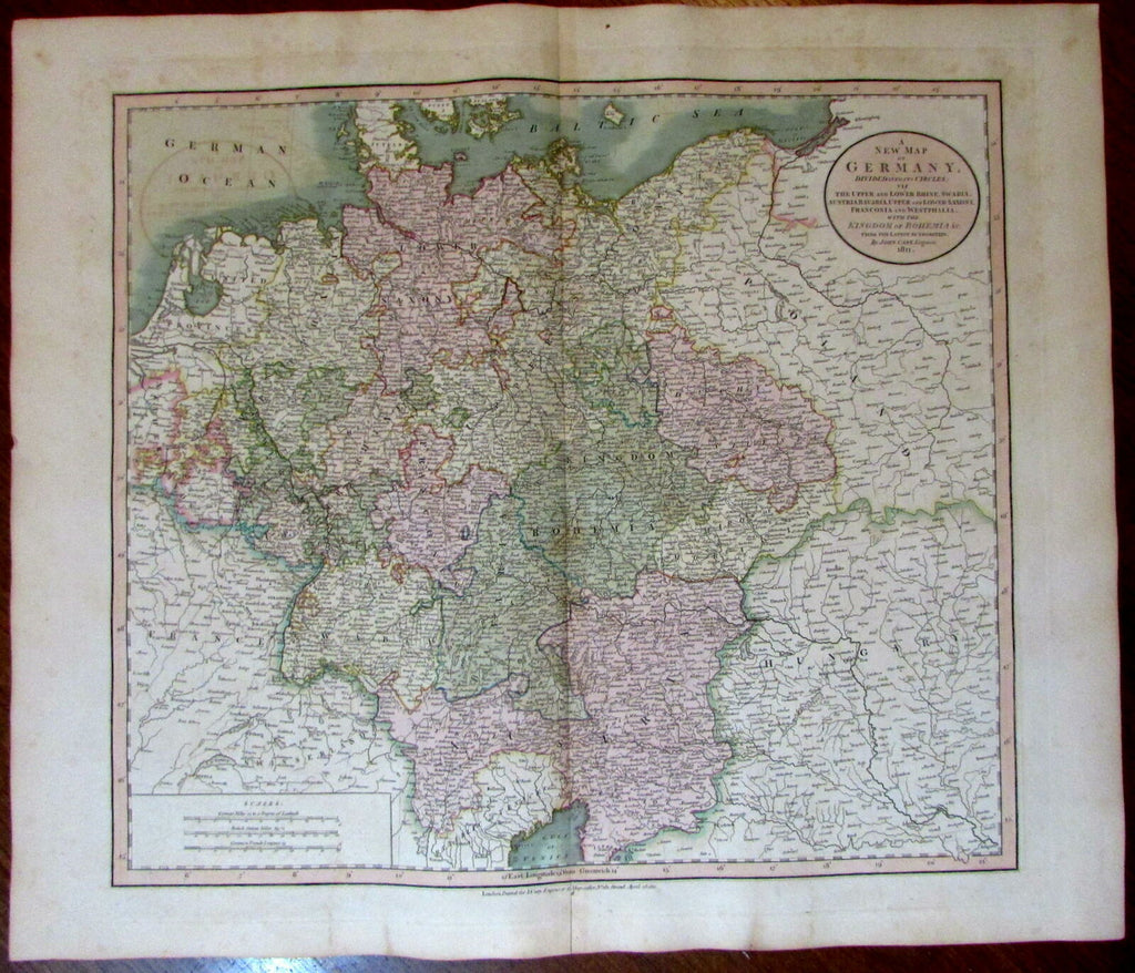 Germany divided into Circles Rhine Bohemia 1811 John Cary lovely large old map