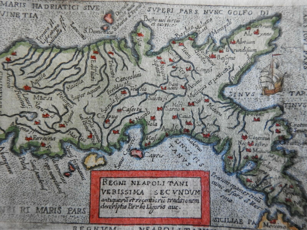 Kingdom of Naples Southern Italy Isle of Capri Apulia Italia 670 Ortelius map