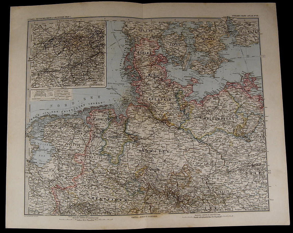 Germany Hanover Berlin Holstein Ruhr Coal District 1885 fine old detailed map