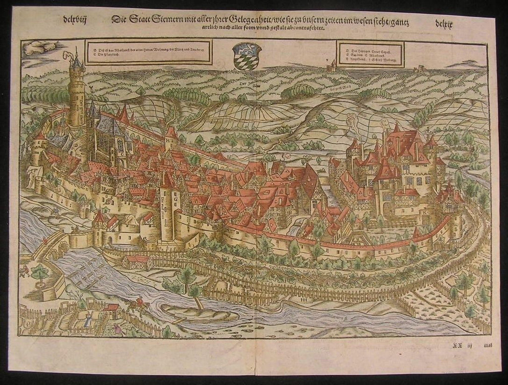 Simmern Germany Rhineland c.1595 antique hand color panoramic city plan