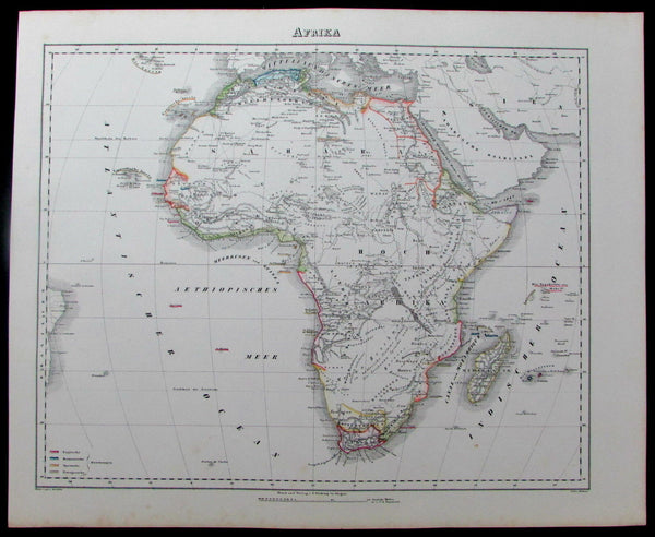 "Afrika Africa continent colonies ""Hottentots"" Egypt c.1850 Flemming old map"