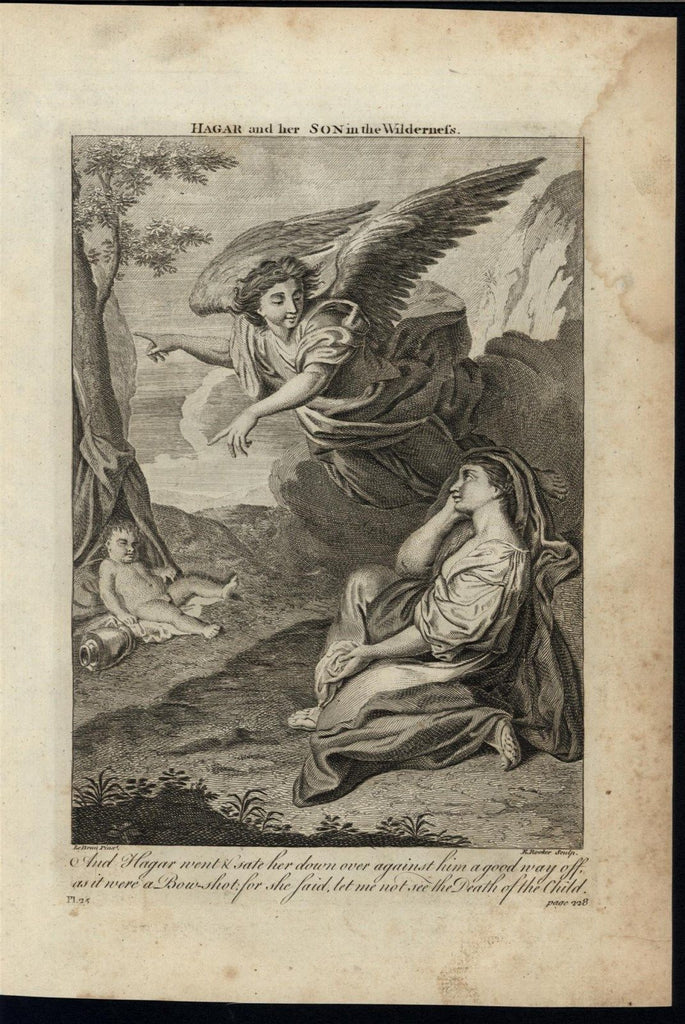 God Rescuing Hagar & Son Wilderness c.1750 antique copper engraved Bible print