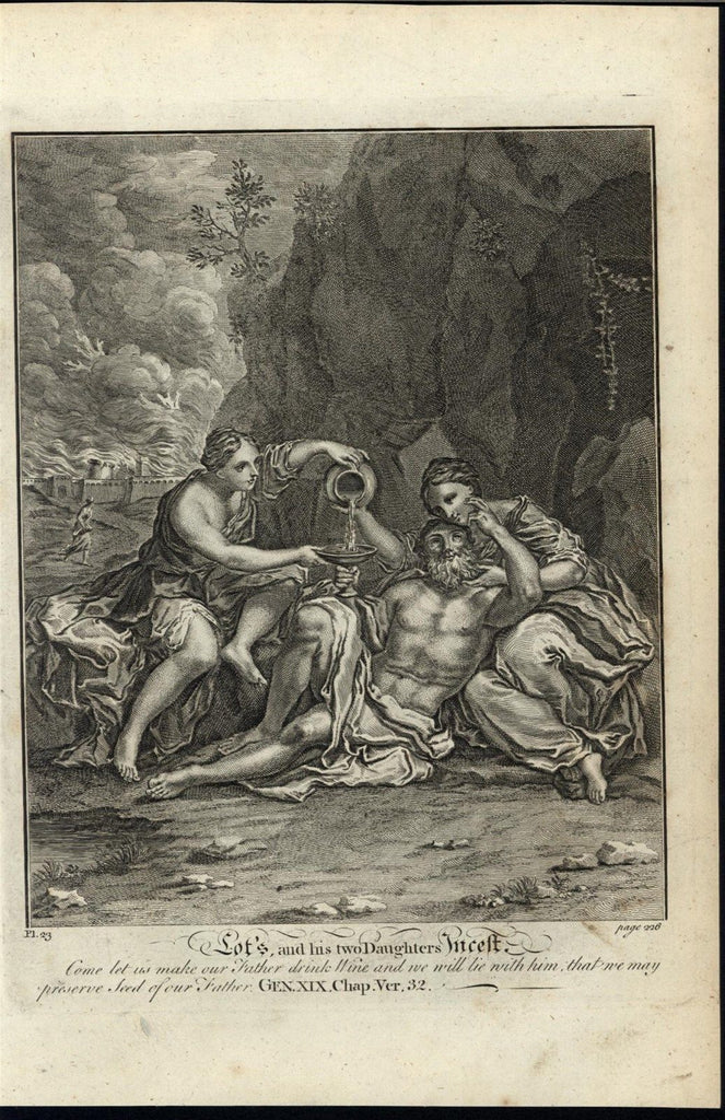 Drunk Lot Seduced Daughters Incest c.1750 antique copper engraved Bible print