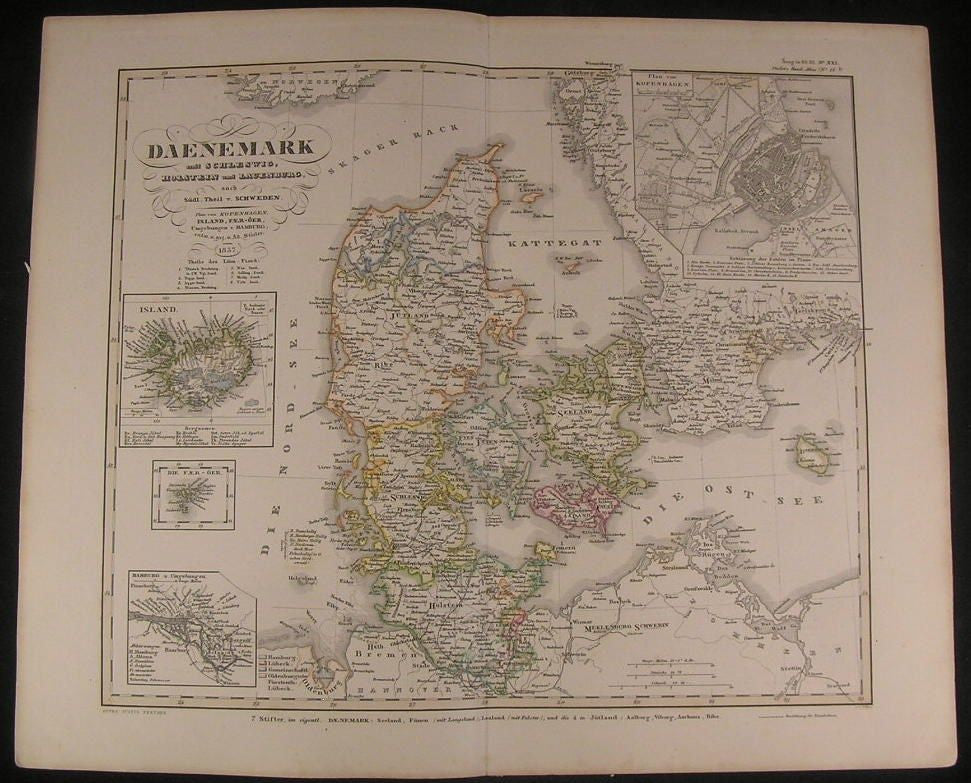 Denmark Zeeland Copenhagen Environs Iceland 1857 antique engraved hand color map