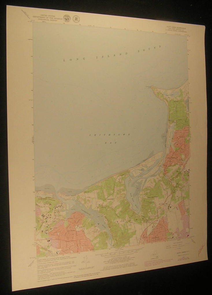 Saint James New York Long Island Railroad 1979 antique color lithograph map