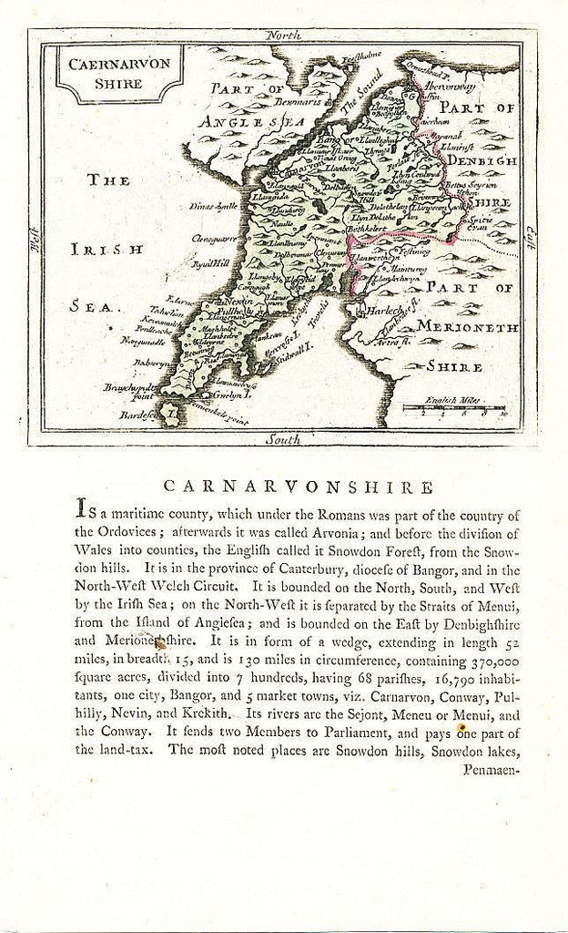 Carnarvonshire England 1783 original antique English County map