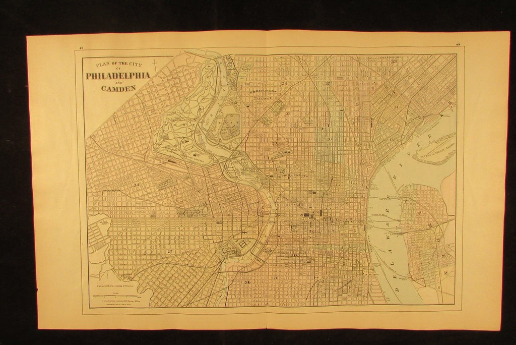 Philadelphia city plan PA 1894 fine antique hand colored Wannamaker large map