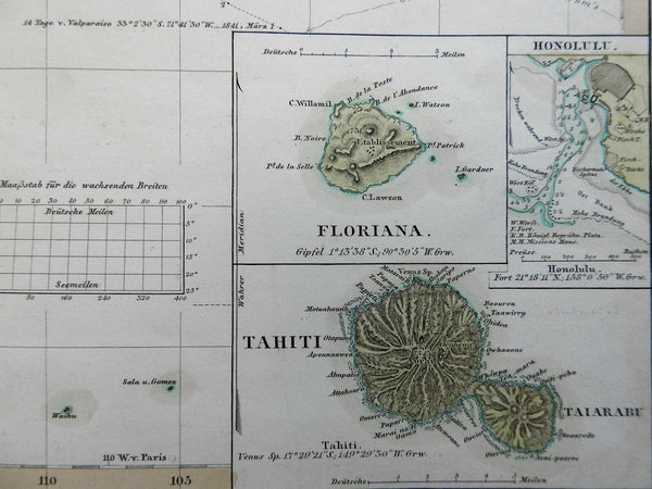 East Polynesia Pacific Islands Hawaii Honolulu harbor missions 1852 Berghaus map